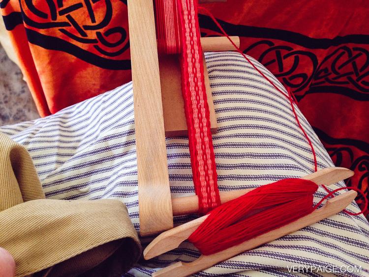 Learning to make inkles on my new mini inkle loom.
