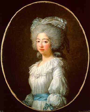"Portrait of Marie Antoinette by Louise Vigee Lebrun in a more relaxed style of dress that became known as a ""chemise a la reine,"" ca. 1783."