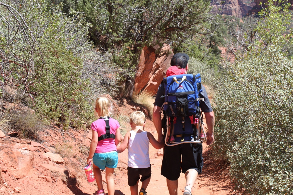 Me with my little hikers... and the mooch on my back?