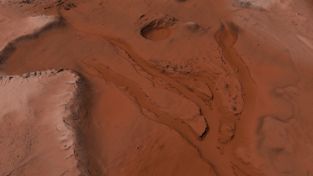 Untextured 3D preview of terrain in its current state
