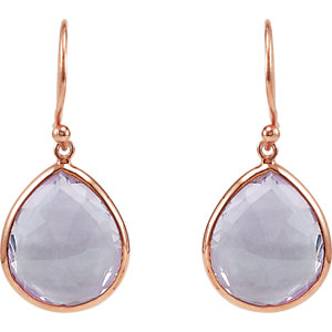Genuine Amethyst Earrings, sterling with rose plating, style #69644 $249.00