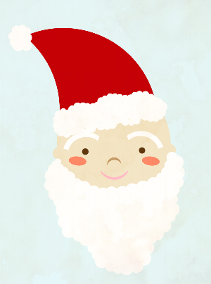 I made this Santa by using only a hard round brush in Photoshop, by placing and erasing it and transforming the shape if necessary.