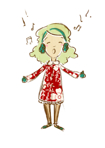 This is my favorite little caroler character.  I love her green hair and her snazzy red jacket - I would absolutely wear that!