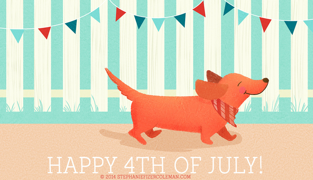 4th of July dachshund illustration