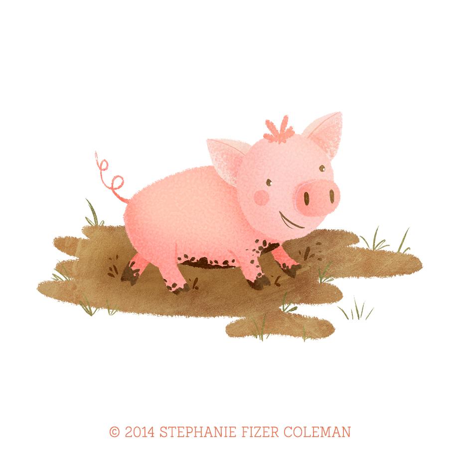 farm pig children's illustration by Stephanie Fizer Coleman