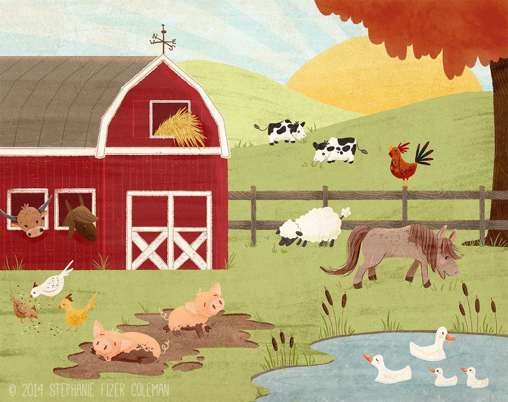 farm scene children's illustration farm animals