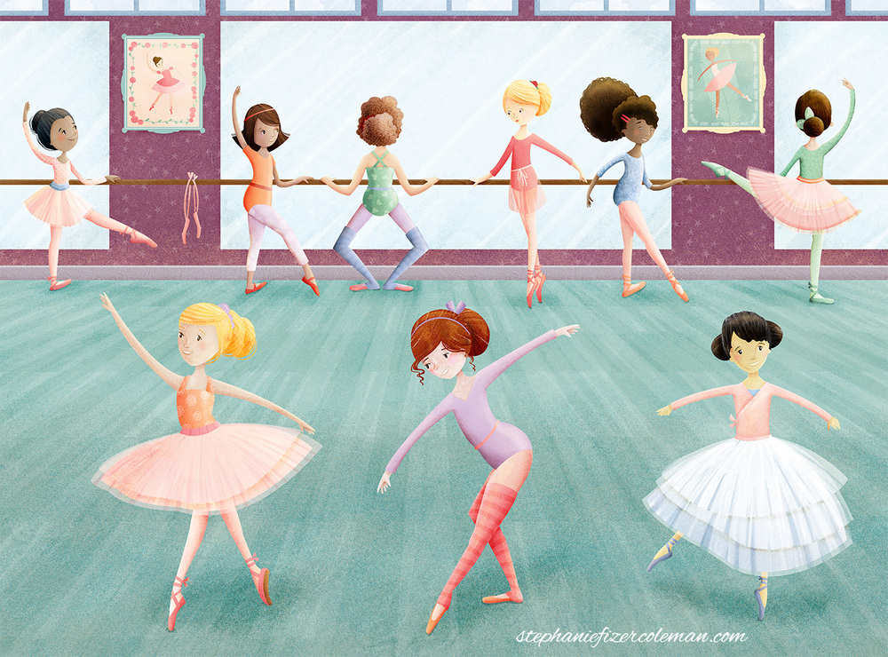 ballet dancer puzzle illustration by Stephanie Fizer Coleman