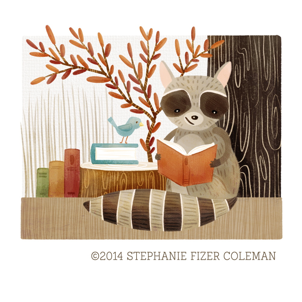 The Bookish Forest:  Raccoon    © 2014 Stephanie Fizer Coleman