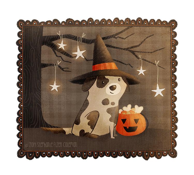 Halloween dog illustration by Stephanie Fizer Coleman