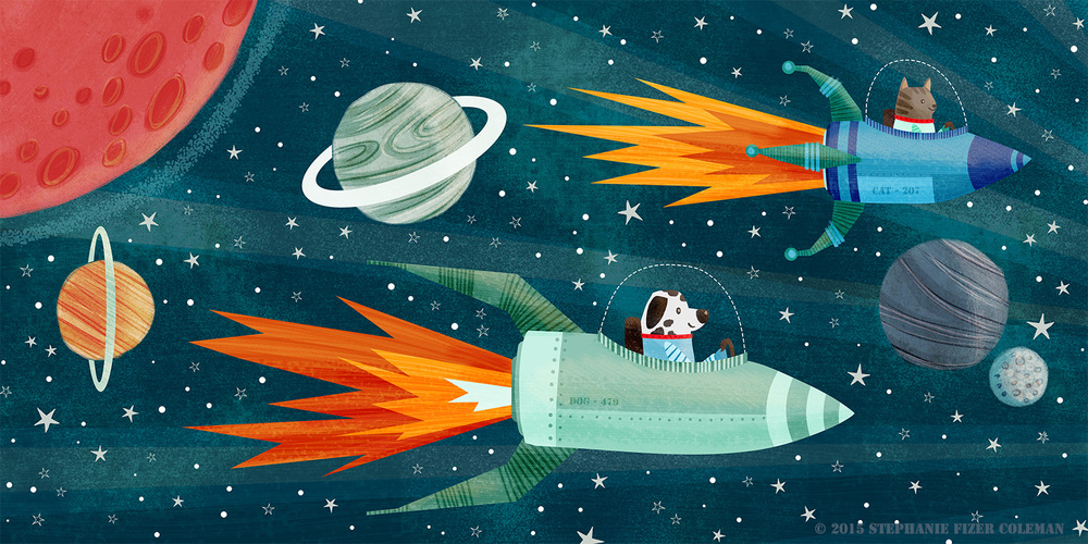 astronaut cat and dog, children's illustration by Stephanie Fizer Coleman