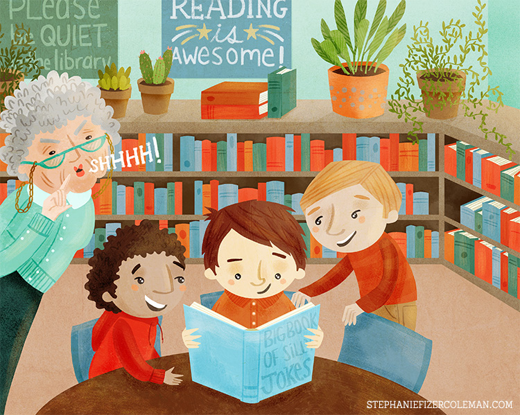 please be quiet in the library - children's illustration by Stephanie Fizer Coleman