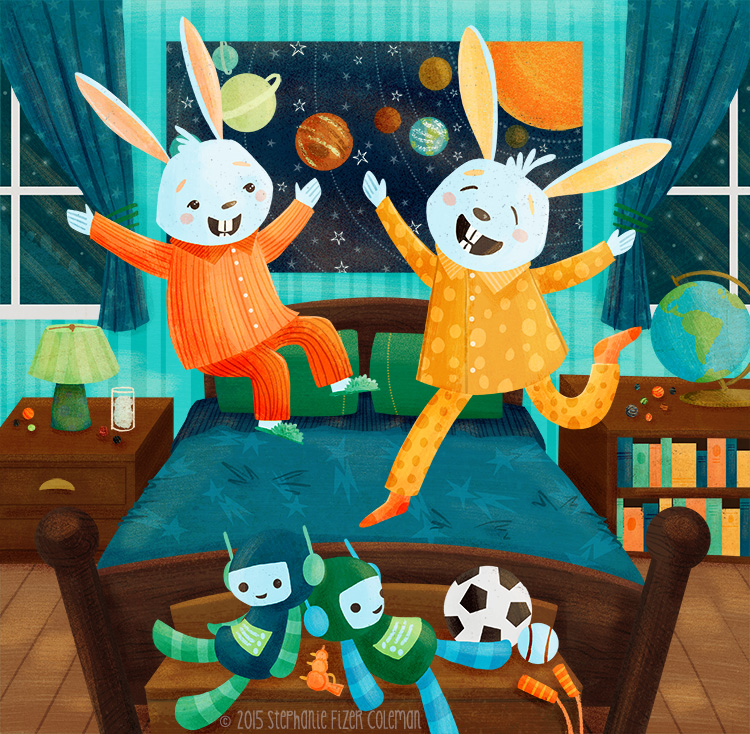 Bunny Sleepover illustration by Stephanie Fizer Coleman