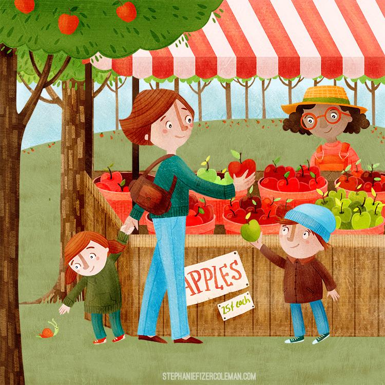 Apple Stand - children's illustration by Stephanie Fizer Coleman