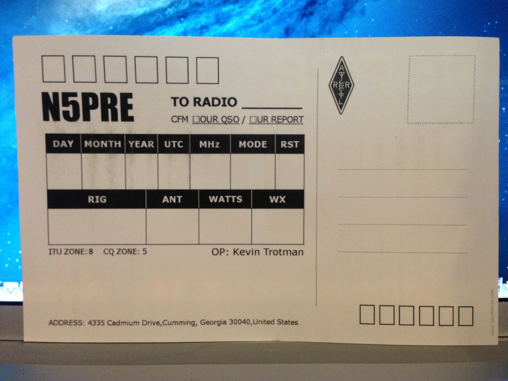 Photo of the back of the QSL card.