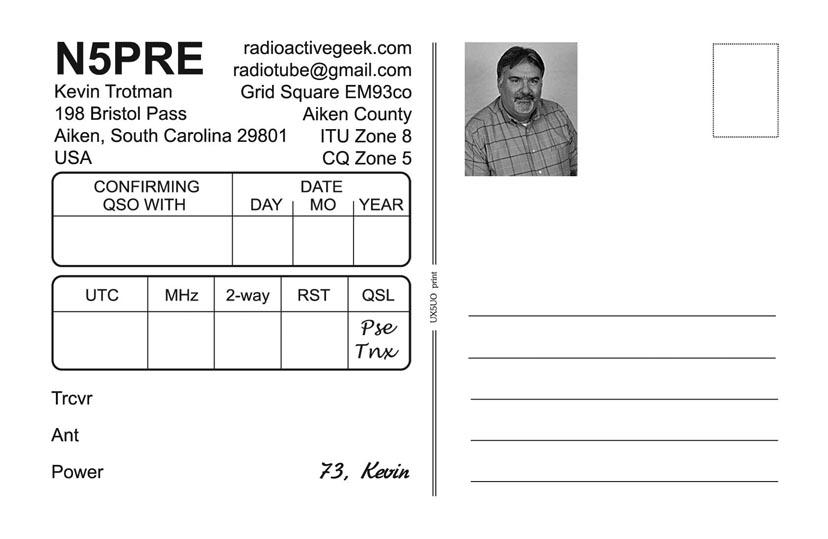 Obverse of N5PRE QSL Card