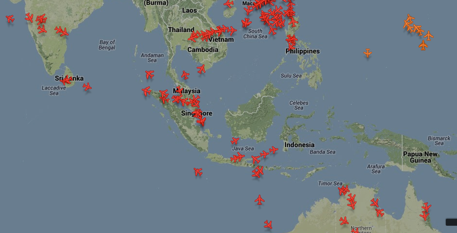 Flights cross SE Asia in the early morning hours.