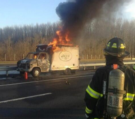 "NYJets truck on fire. Fireman is just like, ""meh.""  Source:  @PatsCat502"