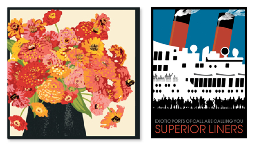 On the left is a beautiful floral design from Linnea and on the right is one of Johanna's trademark travel posters.