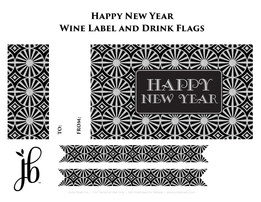 New Years Wine Label and Drink Flags