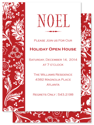 Christmas invitations julie bluet designer stationery and gifts noel red holiday invite stopboris Choice Image