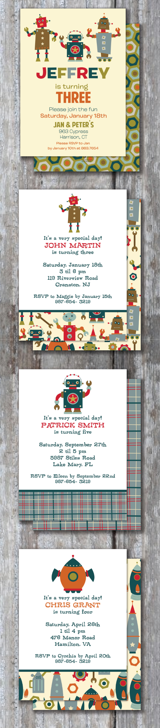 Robot City Custom Invitations