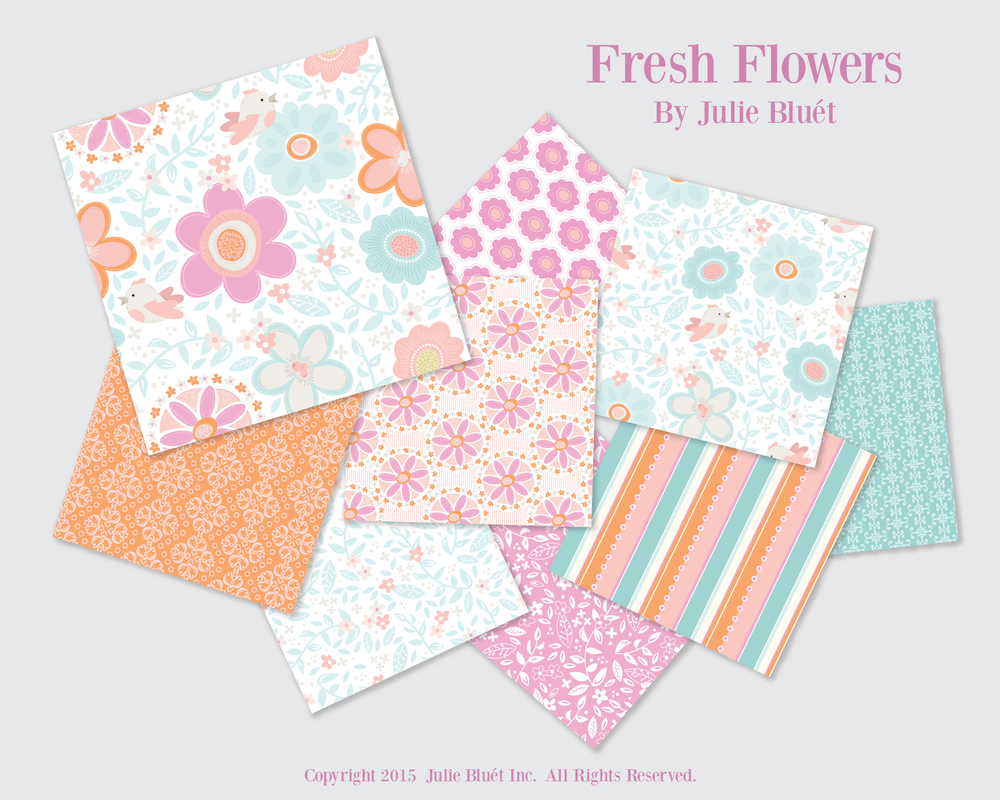 Fresh Flowers Pattern Repeat Collection