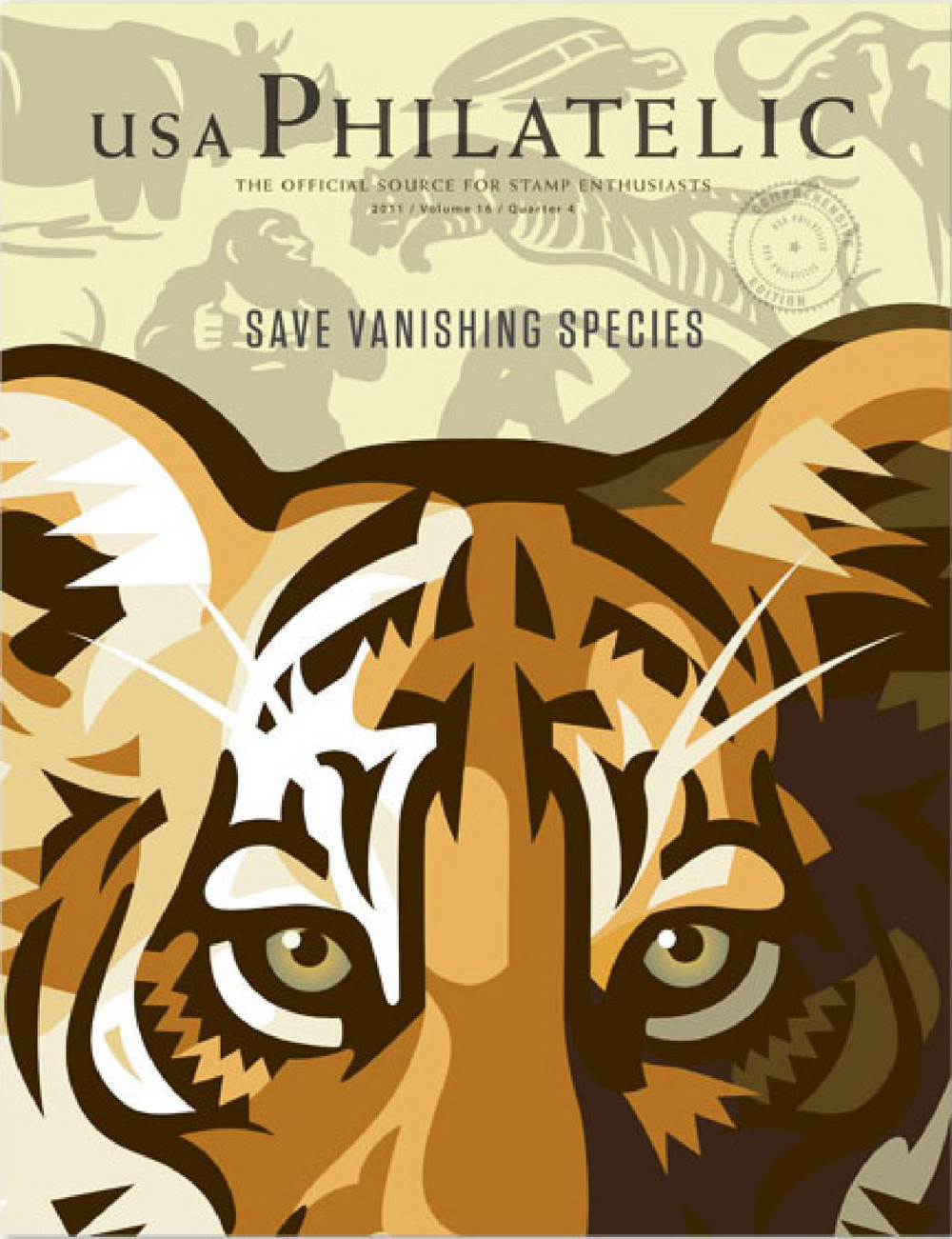 Save Vanishing Species stamp on cover of the US Philatelic catalog.