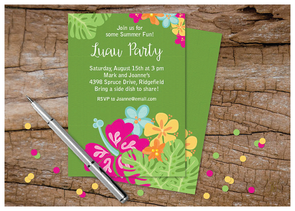 Custom Luau Invitations from Julie Bluet on Etsy.