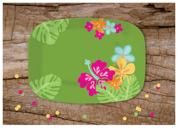 Luau Party Melamine Serving Platter from Julie Bluet on Etsy.
