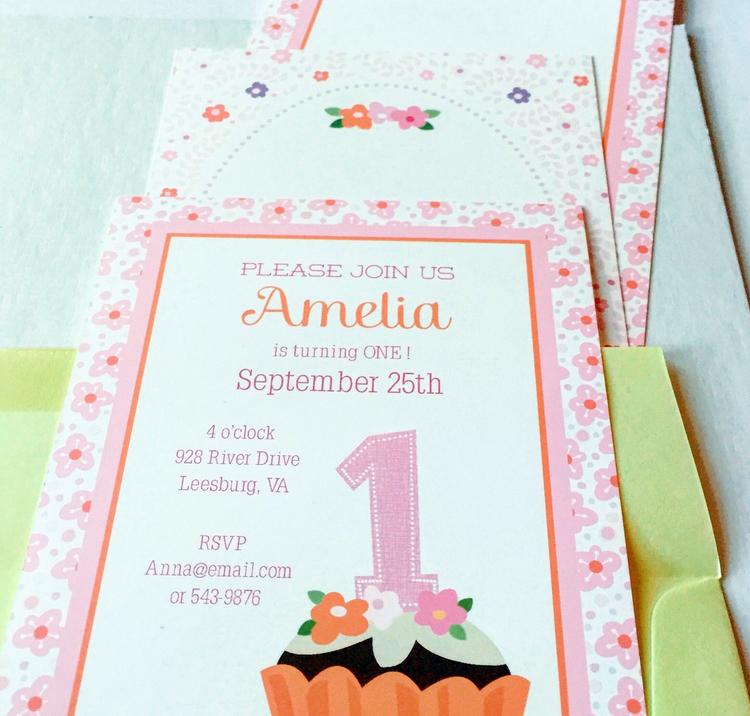 Pink cupcake birthday invite julie bluet designer stationery and pink cupcake birthday invite filmwisefo
