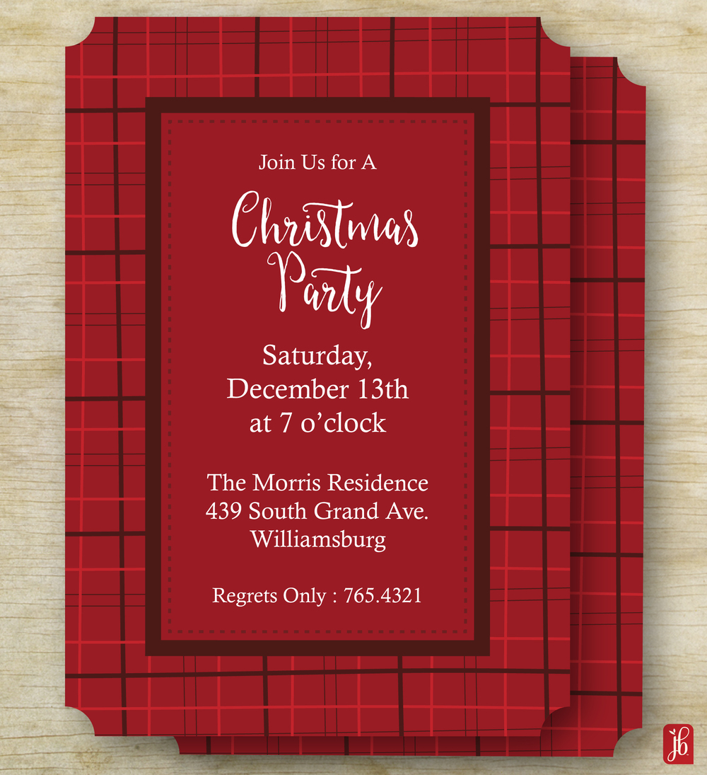 Christmas Plaid Party Invite — Julie Bluet | Designer Stationery and ...