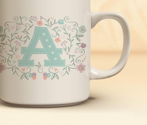 floral monogram mug julie bluet designer stationery and gifts