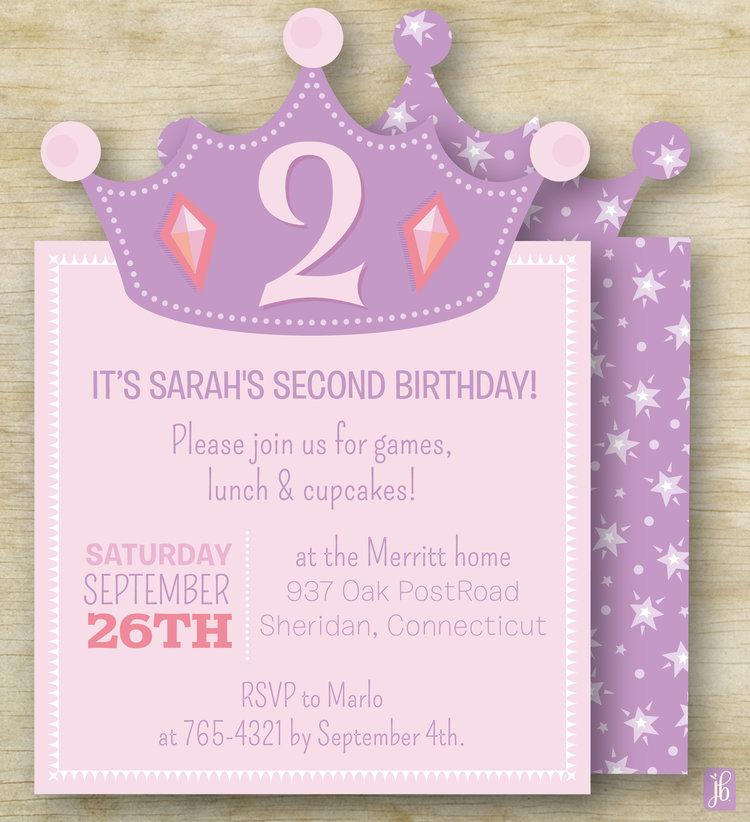 Princess Crown Birthday Invitation Julie Bluet Designer