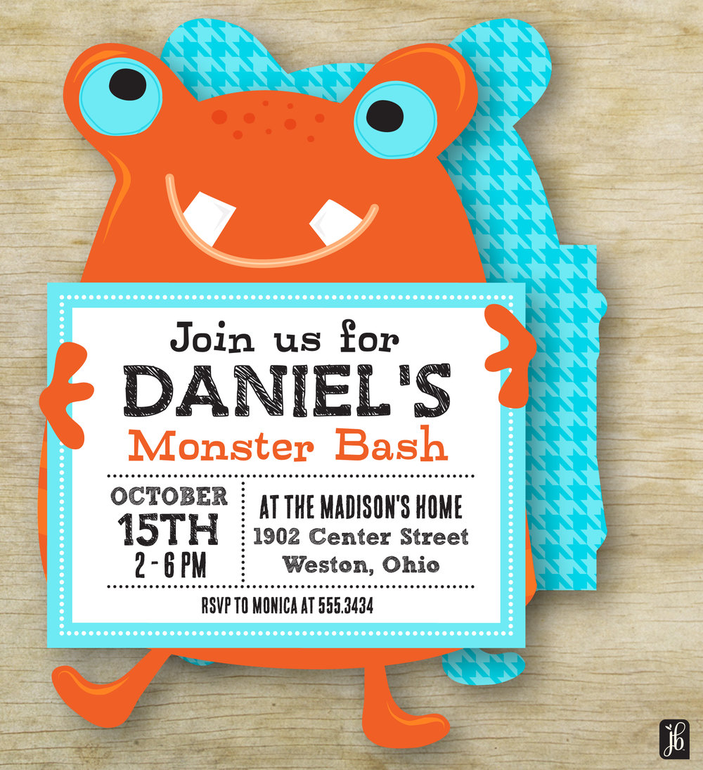 Die Cut Monster Invitation