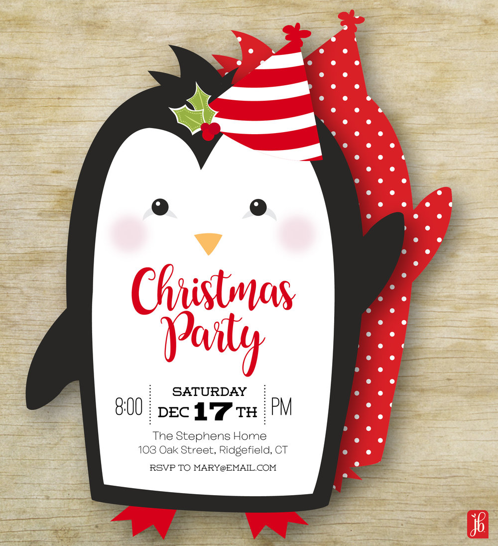 Christmas Penguin Invitation