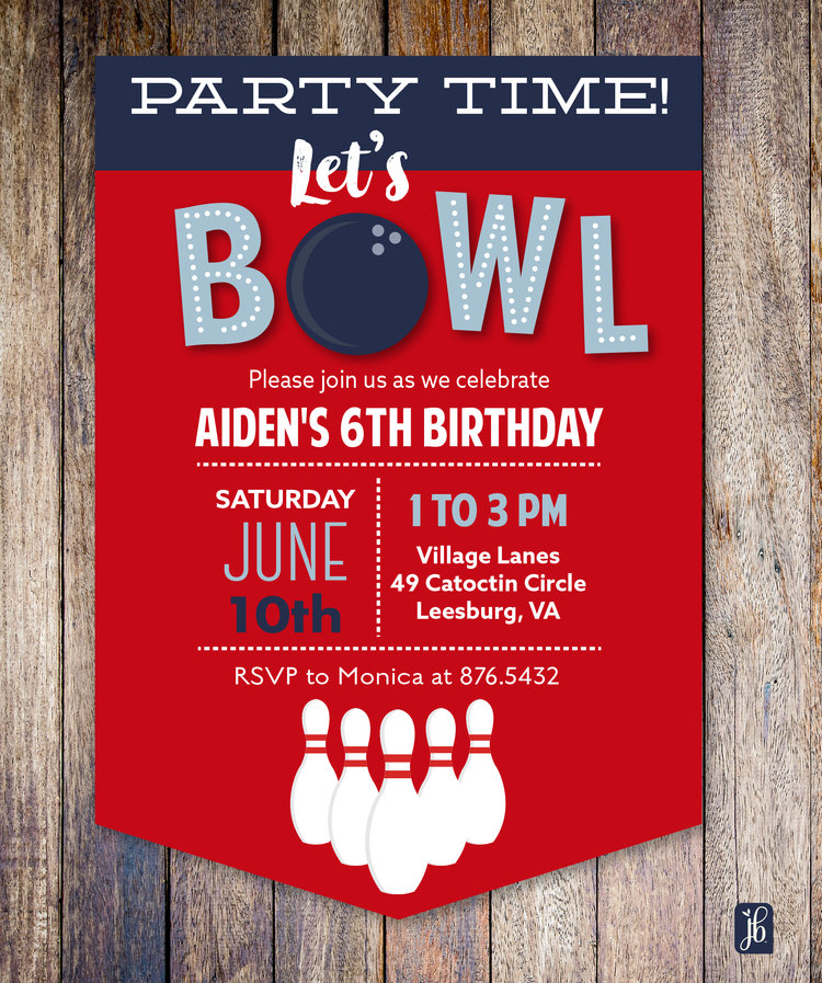 bowling party custom invite julie bluet designer stationery and