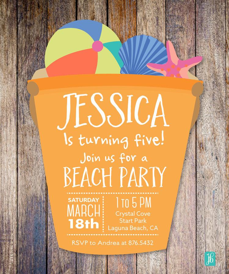 Beach Party Personalized Invite Julie Bluet Designer Stationery