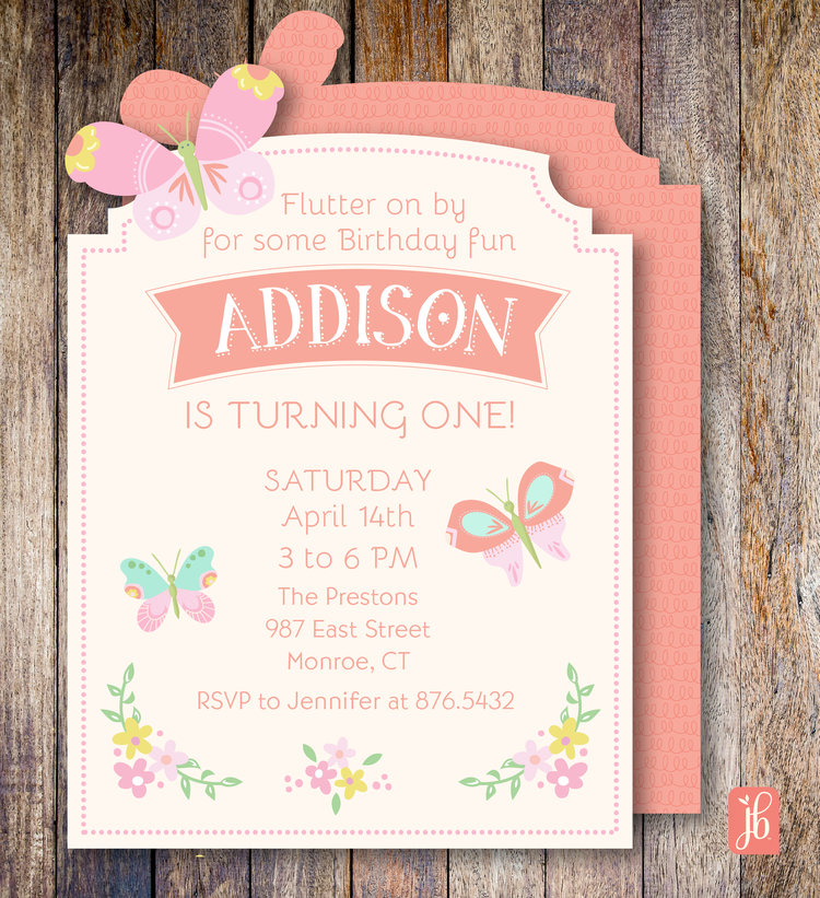 Butterfly Garden Custom Die Cut Invitation Julie Bluet