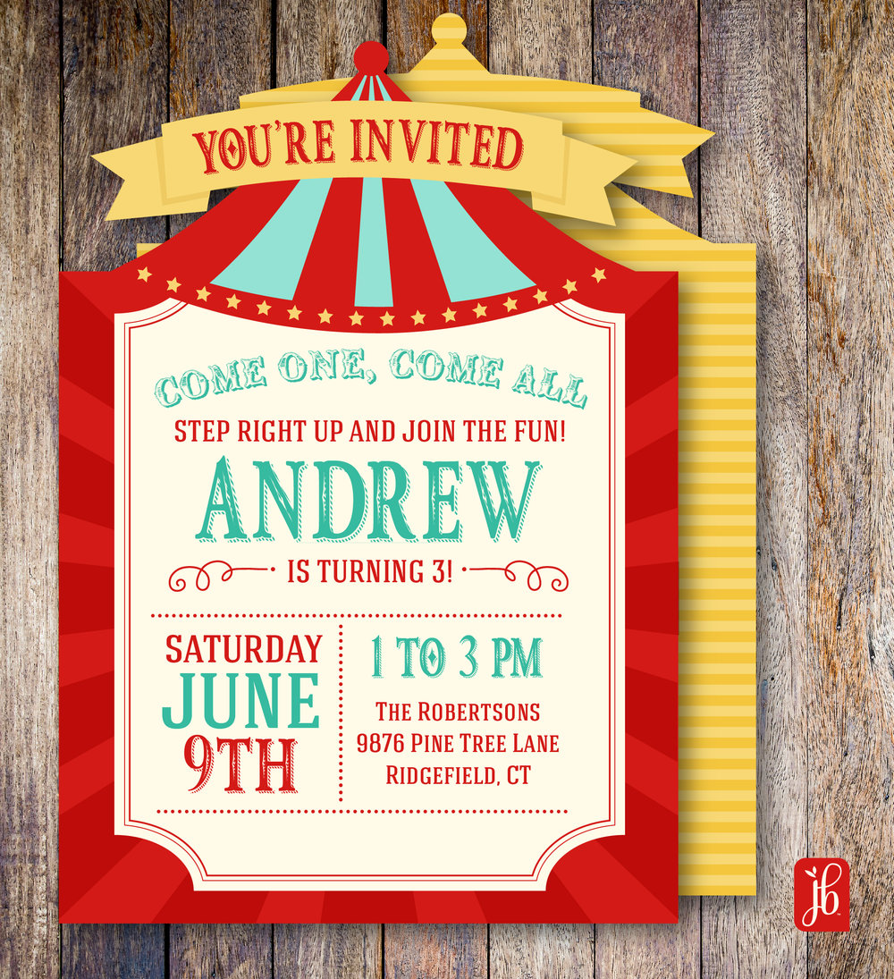 Circus Party Custom Invite — Julie Bluet | Designer Stationery and Gifts