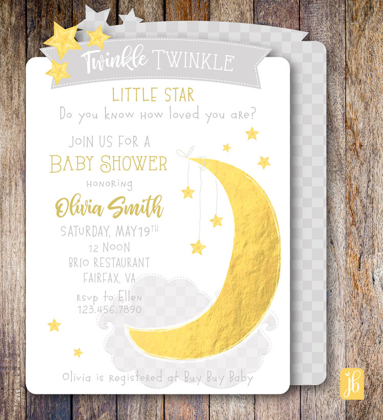 twinkle little star party invite julie bluet designer stationery