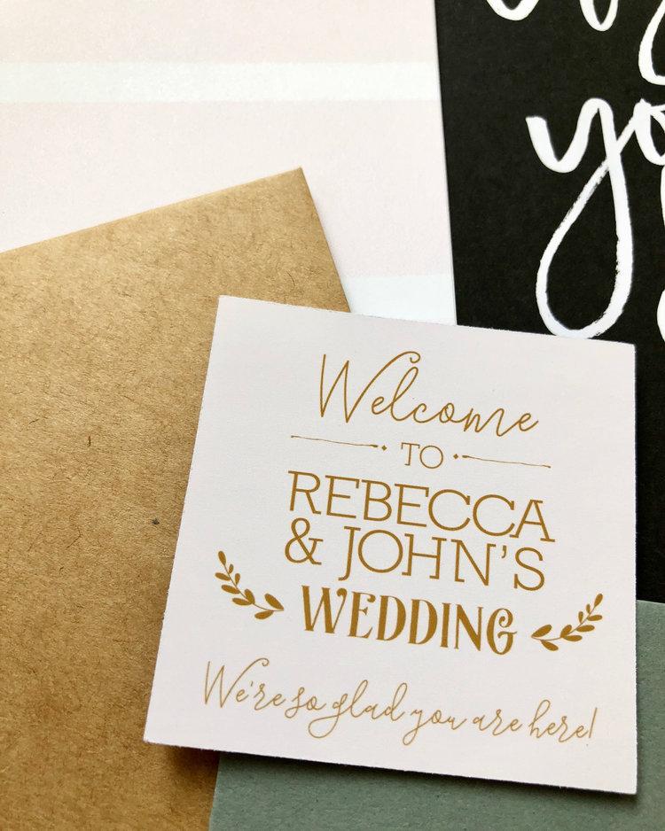 91e914143 Gold Welcome Wedding Gift Stickers — Julie Bluet