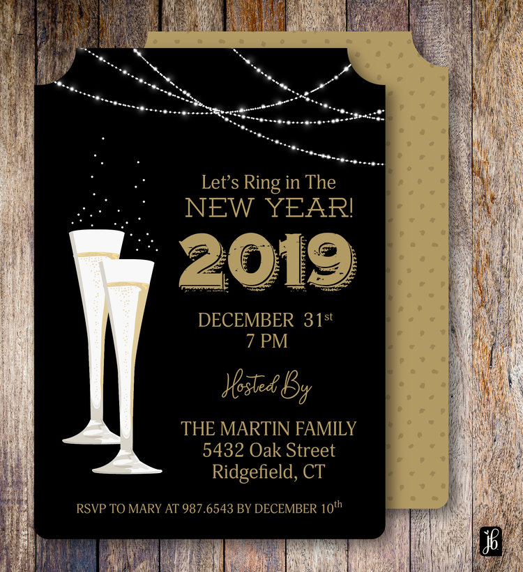 champagne glass new years custom invite