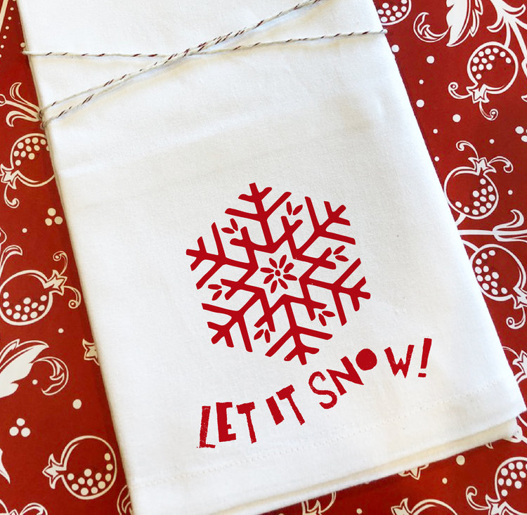 Let it Snow Holiday Tea Towel