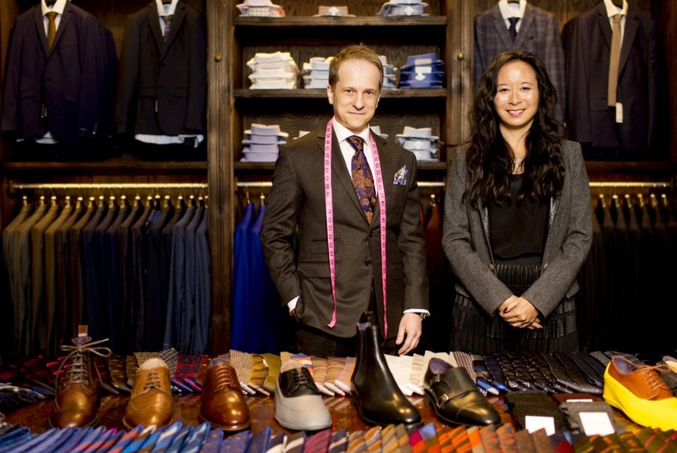 Gotstyle's head of Made to Measure Konstantine Malishevski and Owner Melissa Austria 'show the goods' for a Toronto Star photo Shoot