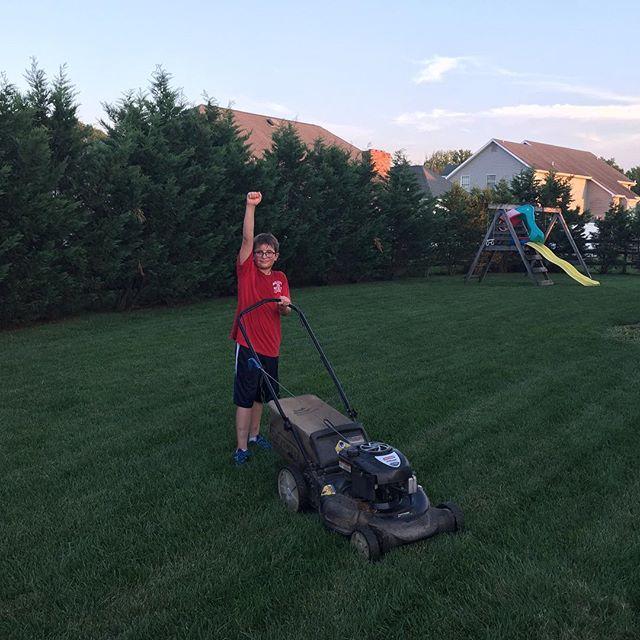 He came; he mowed; he conquered! #mowedthewholebackyard