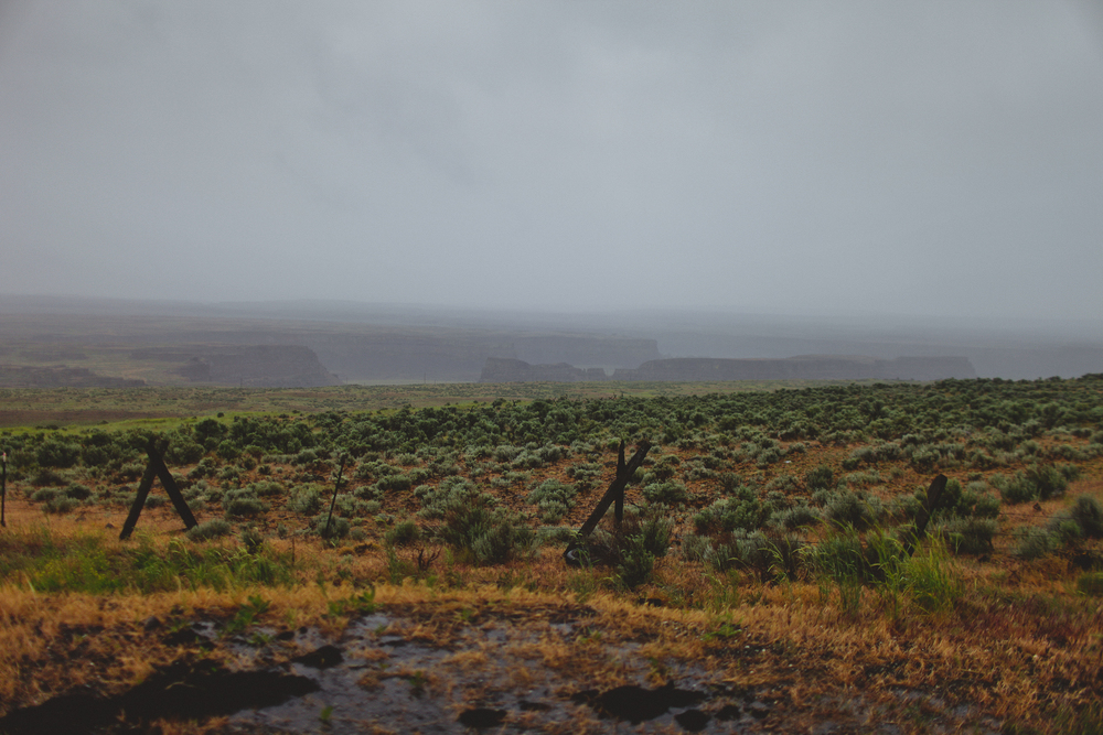 A massive coulee outside Coulee City, Washington. A coulee is a geographical formulation of deep ravine and rock formations made during massive floods after the ice age.