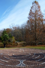 Brookside labyrinth, looking toward tea house island