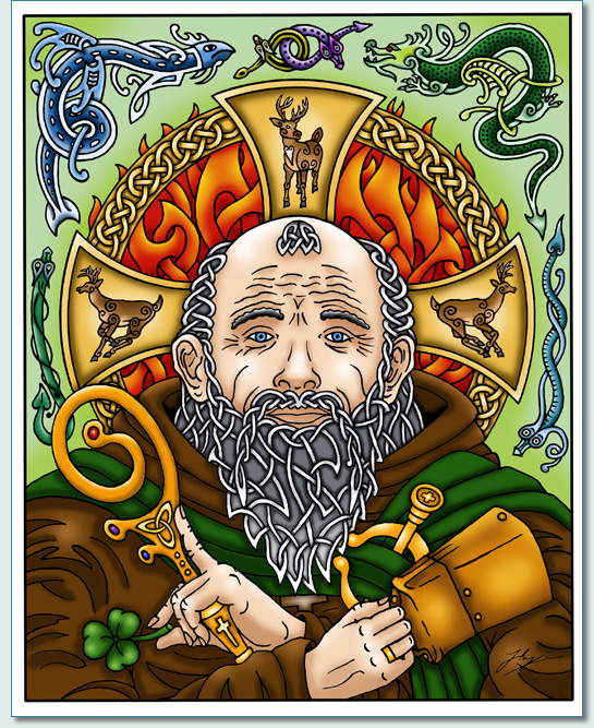 Kudos to Maui artist Hamish Douglas Burgess for including St. Patrick's bell in his vivid depiction. Check out the larger image at http://www.mauiceltic.com/gallery.htm and see if you can pick out all the elements that are part of St. Patrick's story.