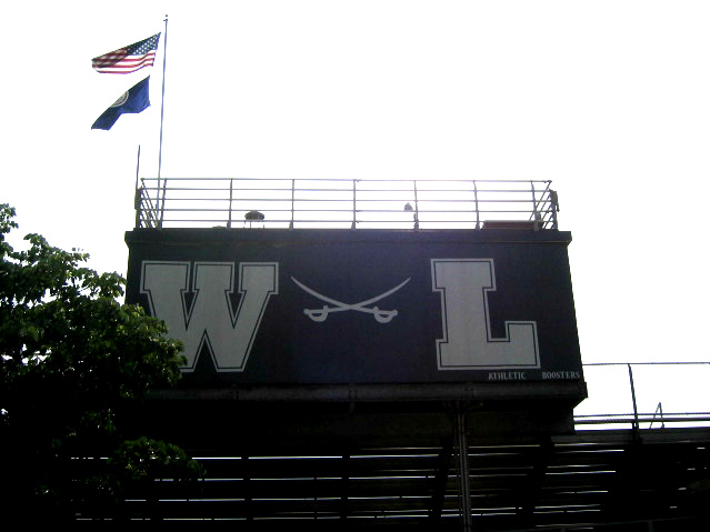 W-L High School bleachers, photo by Ravenscroft32, licensed under the  Creative Commons   Attribution-Share Alike 3.0 Unported  license.