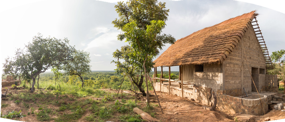 One of the 25 private guest rooms, each with a view over Mole National Park, under construction at Zaina Ecolodge.